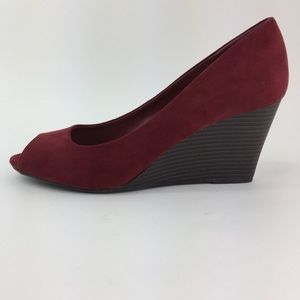 Cato Burgundy Suede Peep Toe Wedge 10W